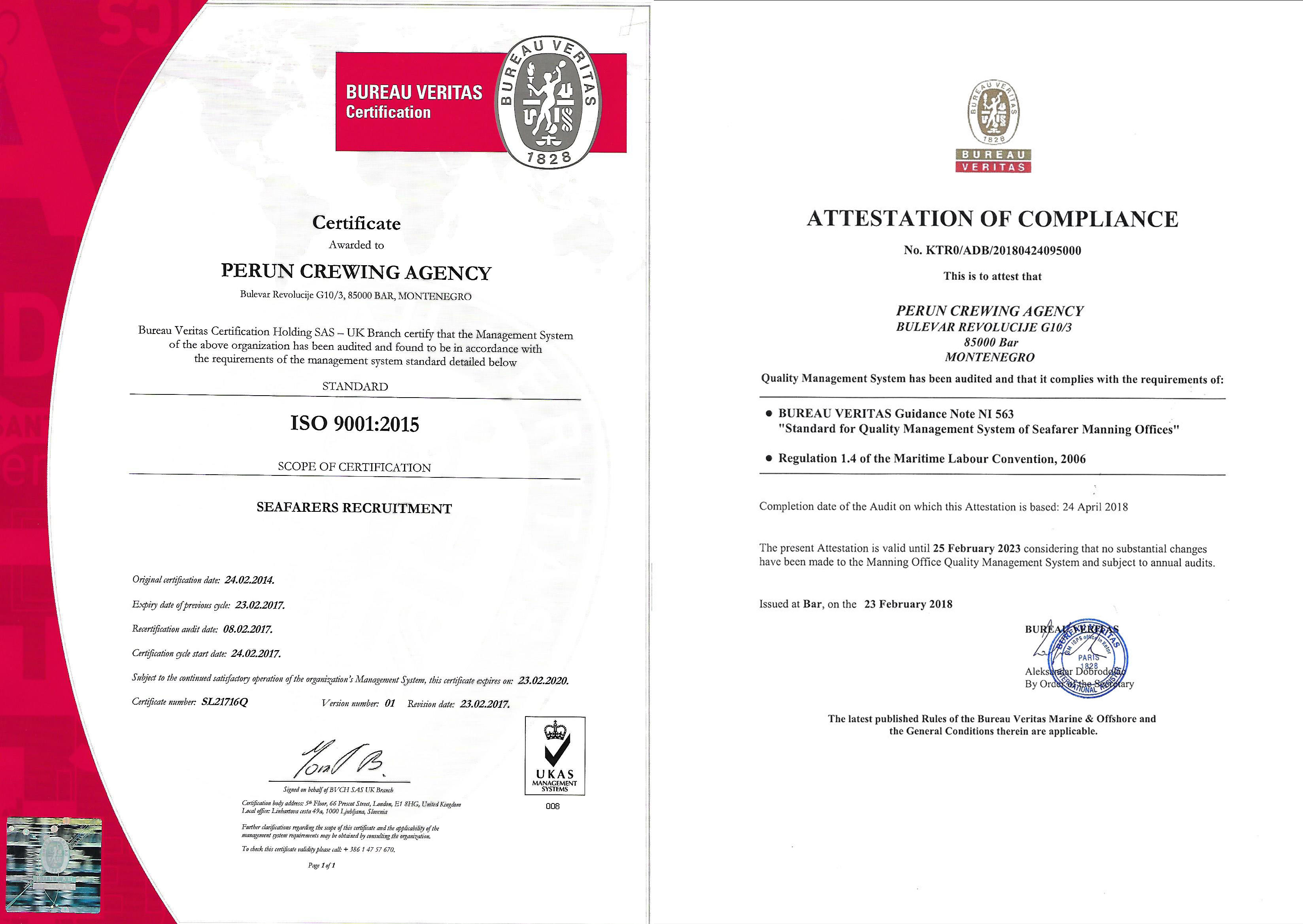 Certificates - Perun crewing agency